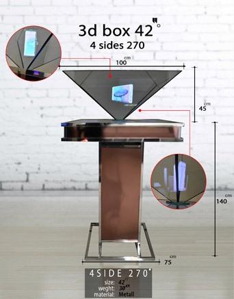 نمایشگر سه بعدی چهار وجهی معکوس 42 اینچ